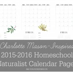 FREE Printable Charlotte Mason Inspired 2015-2016 Homeschool Naturalist Calendar Pages